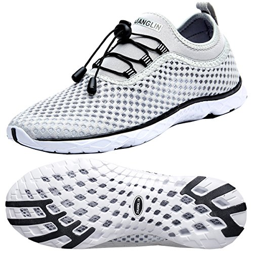 Zhuanglin Men's Quick Drying Aqua Water Shoes Light Grey 9.5