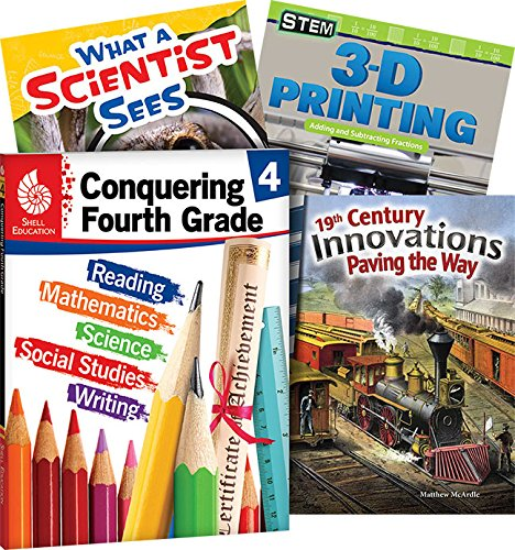 Conquering Fourth Grade, 4-Book Set – Fun Practice Workbook and 3 Reading Books for Kids Ages 8-10 to Prepare for 4th Grade