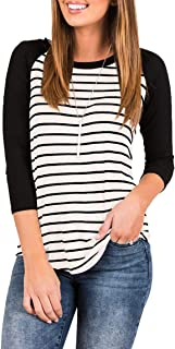 Best ladies black and white striped t shirt Reviews