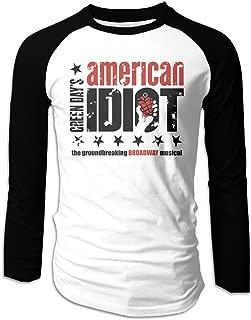Creamfly Mens American Idiot Long Sleeve Raglan Baseball Tshirt