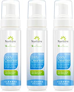 No Rinse Body Wash by Nurture Valley | Full Body Cleansing Foam That Also Moisturizes, and Protects Skin - Non Allergenic - Non sensitizing - Rinse Free Wipe Away Cleanser - 3 Bottles
