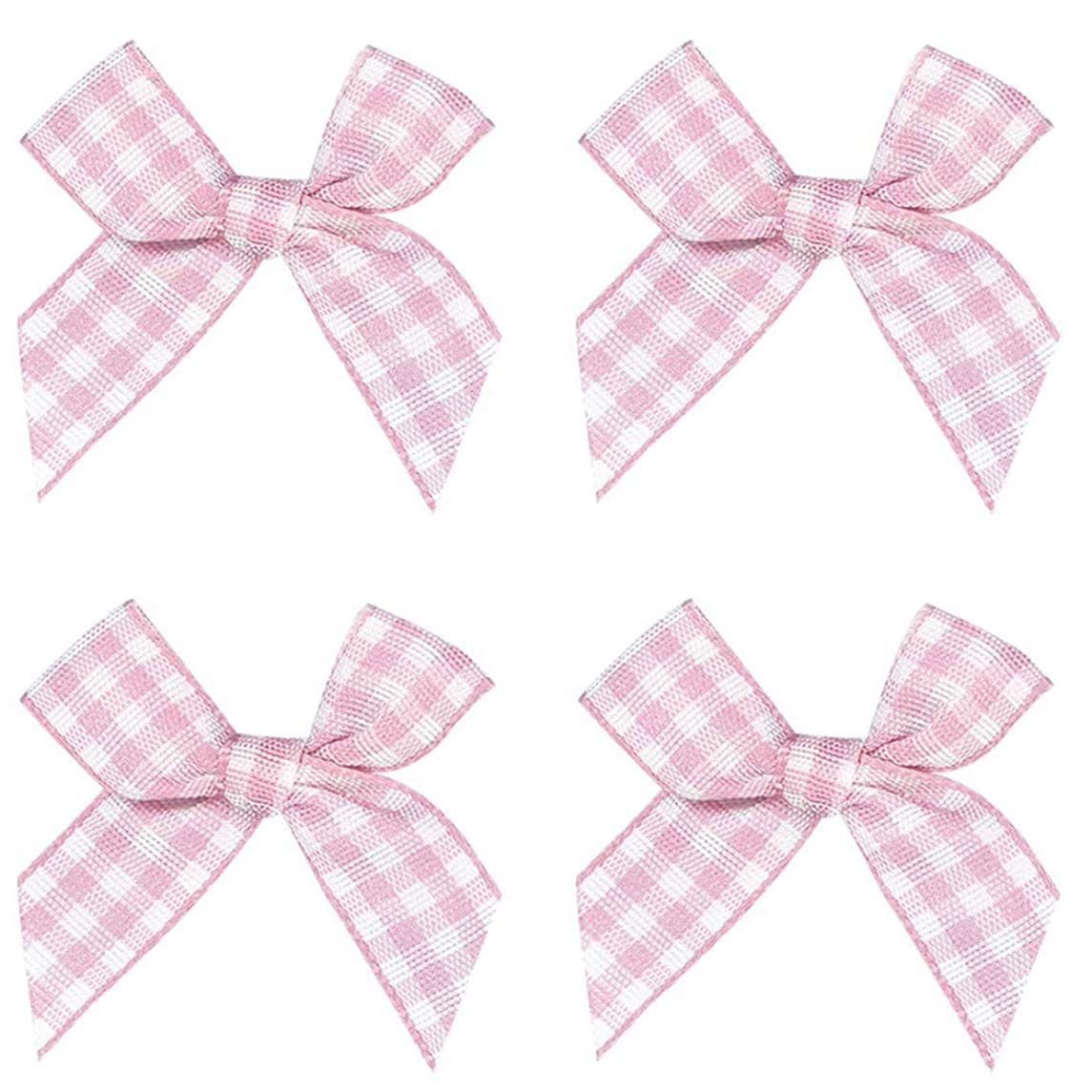 50pcs Mini Gingham Ribbon Bows Checkered Ribbon Flowers Plaid Ribbon Bow Appliques DIY Craft for Sewing, Scrapbooking, Wedding, Gift (Pink and White)