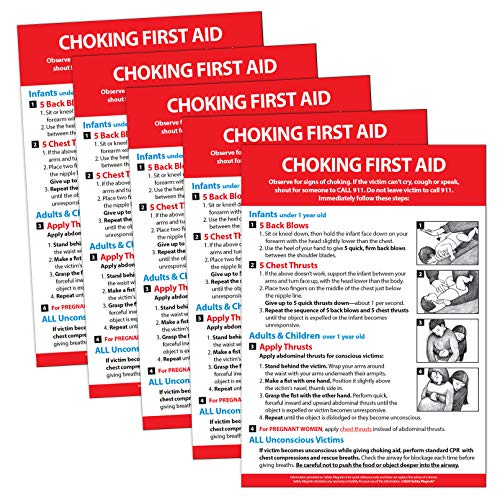 5 Pack: Choking First Aid Fridge Magnet - First Aid Choking for Infants, Children, and Adults -...
