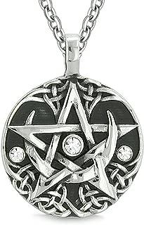 Amulet Pentacle Magic Super Star Celtic Flames Defense White Crystals Pentagram Pendant 18 Inch Necklace