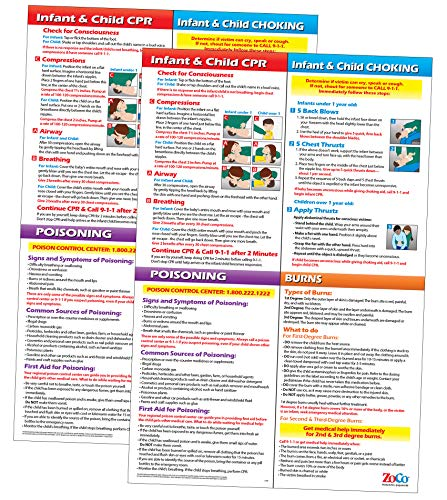 2 Poster Pack - Infant and Child CPR Choking Poisoning & Burns First Aid Chart - Daycare Supplies - Heimlich Maneuver Chart - 12 x 18 inches - Laminated