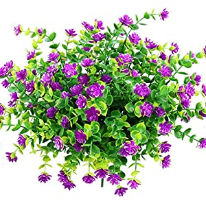 YOSICHY Artificial Flowers, Fake Outdoor UV Resistant Plants Faux Plastic Greenery Shrubs for Outside Hanging Planter Home Kitchen Office Wedding Garden Decor