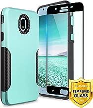 TJS Galaxy J7 2018/J7 Refine/J7 Star/J7 Eon/J7 TOP/J7 Aero/J7 Crown/J7 Aura/J7 V 2nd Gen Case, with [Full Coverage Tempered Glass Screen Protector] Carbon Fiber Shockproof Black Phone Case (Teal)