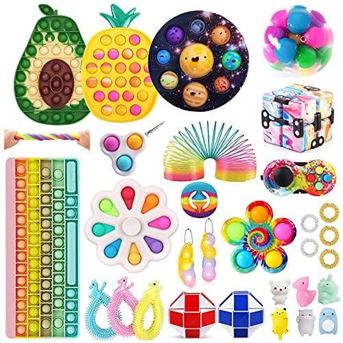 Fidget Toy Set, Fidget Spinner Fidget Pack, Push Bubble Pop Toys, Sensory Stress Relief Toys Fidget Kit Pop Toy Pack Anxiety Toys for ADHD(Fidget Toy-3)