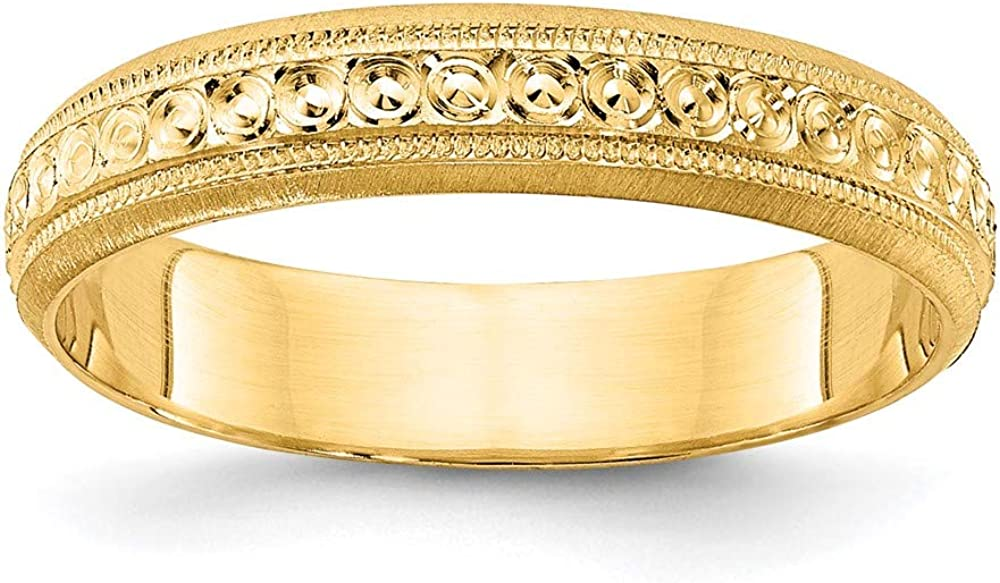 14k Yellow Gold 3mm Design Etched Wedding Ring Band Fancy Fine Jewelry For Women Gifts For Her