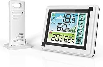 Xu Yuan Jia-Shop Termómetro Higrómetro Interior al Aire Libre inalámbrico termohidrómetro Temperatura Humedad monitoreo Clima Reloj Digital higrómetro Digital Termohigrómetro (Color : A)