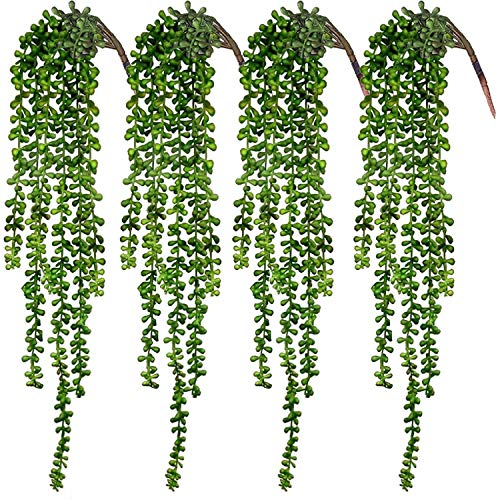 Decpro Artificial Hanging String of Pearls Plant, 24 inches Fake Succulent Hanging Vine, Lover Tears...