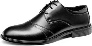 DADIJIER Oxfords Vestido Zapatos para Hombres Planeado Captida Captida Capitán De 3 Ojos Encaje De Cuero Grueso Tacón De C...
