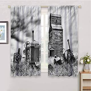 zojihouse Industrial Old 60s Abandoned Tractor in Farm in Central Canada Nostalgic Machinery Elements Image Window Curtain Fabric Grey Blackout Draperies for Bedroom W55xL72