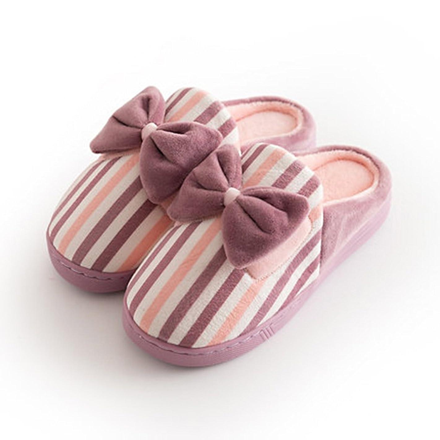 交じるフェッチ否認するコットンスリッパレディースホーム冬暖かい靴のかわいい弓 ( 色 : Pattern 2 , サイズ さいず : EUR:38-39 )