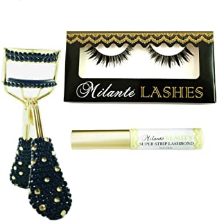 e6a14a66c00 Milanté Beauty Envious False Lashes Black Natural Thick Long Full Reusable,  Crystaluxe Eyelash Curler and