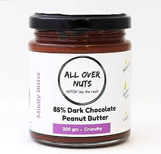 All Over Nuts 85% Dark Chocolate Peanut Butter, 200 gm Crunchy (Stone Ground, Gluten Free, Vegan)