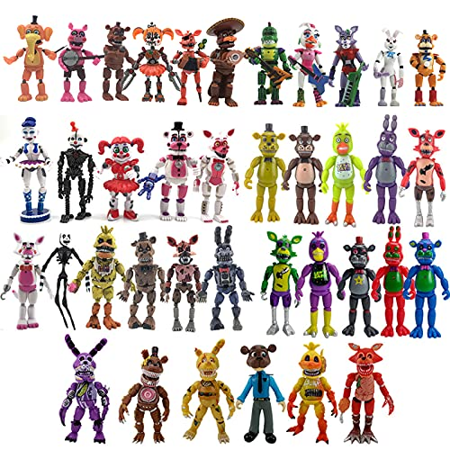 Five Nights at Freddys Action Figure Toys Full Set The Second-Generation Third-Generation Security Breach Pizza Shop Sister Location Toy All Series FNAF for Kid Gifts (Combination 7)