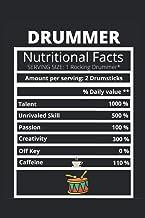 Band Drummer Notizbuch Journal Drummer Nutritional Facts, 6x9 in, 120 SEITEN, Geschenk, Tag, Kaffee: Gefuettertes Notizbuc...
