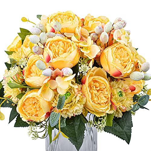 XONOR Fiori di peonia Artificiali in Seta Finto Bouquet di peonia, Fiori per Feste Nuziali, Decorazione per la casa, centrotavola (Giallo, 4 mazzi)