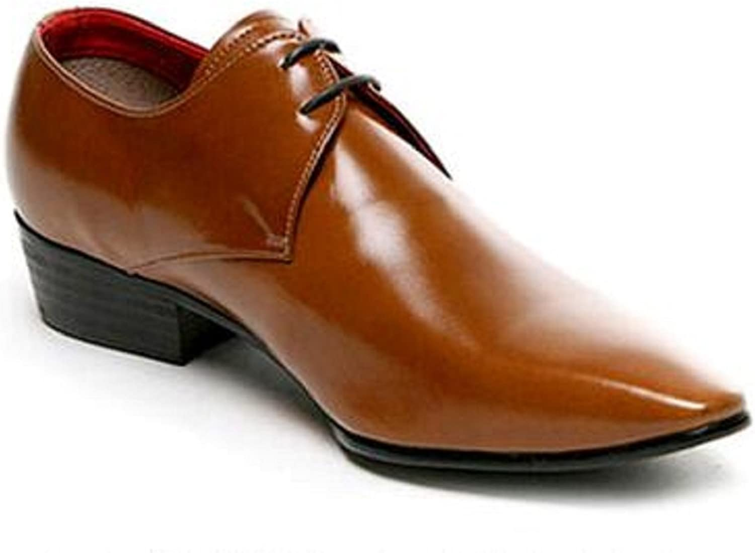 HAPPYSHOP(TM Men's Leather Lace up Pointy Toe Oxford Shoes Fashion Bright Color Casual Work Dress Business Shoes (EUR Size 38, Brown)