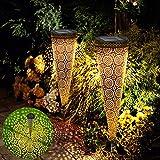 Vivibel Solarleuchten Garten, Metall Solarleuchten für Außen, Solar Gartenleuchte Wasserdicht IP65 Solarlampen für Garten, Warmweiß Dekoration Licht für Terrasse, Rasen, Garten Hofwege und Wege
