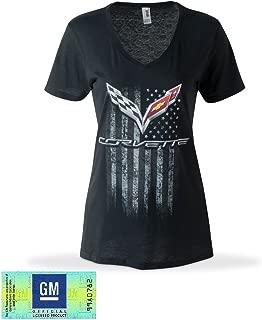 C7 Corvette American Legacy Ladies V Neck T-Shirt/Black (Small)