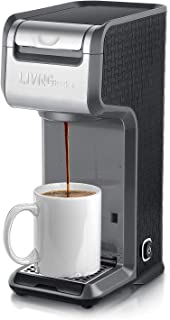 LIVINGbasics™ 2 in 1 Single Serve Coffee Maker Coffee Brewer, Compatible with K-Cup Pods or Ground Coffee, Slim Design, Portable and Easy to Use (Grey)