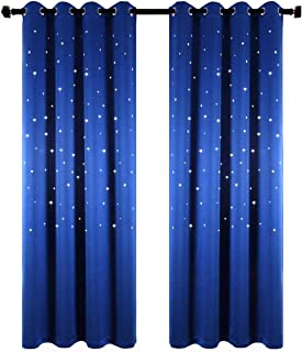 Anjee Starry Sky Blackout Curtains with Laser Cutting Stars for Children's Room, Space Themed Drapes for Nursery (Royal Blue, W42 x L63 Inches)