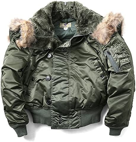 US Military Air Force N 2B Parka Pilot Bomber Jacket Coat Olive Green Medium product image