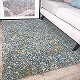 The Rug House Tapis Murano Bleu Canard et Jaune Moutarde Ocre Motif tacheté Tonal Mixte 160cm x 230cm (5'3' x 7'7')