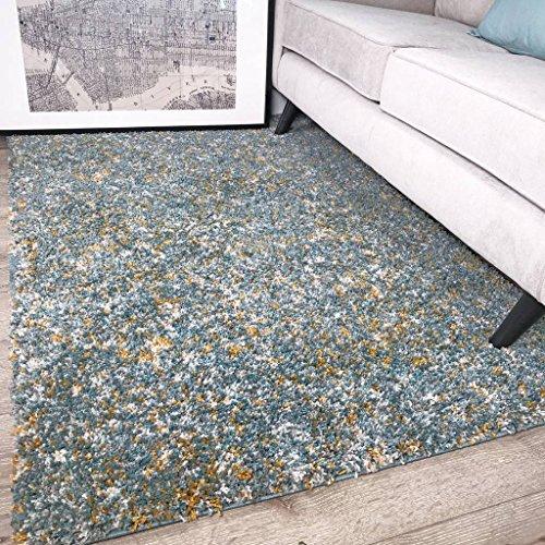 The Rug House Tapis Murano Bleu Canard et Jaune Moutarde Ocre Motif tacheté Tonal Mixte 160cm x 230cm (5