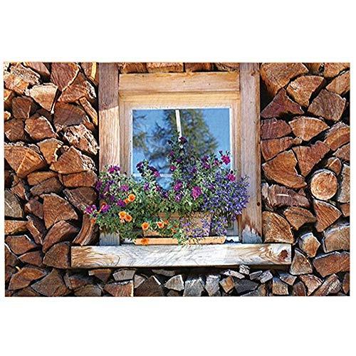 SESILY blokhut badtapijten door, Feature huis houten muur en raam bloem, anti-slip deurmat deurmat