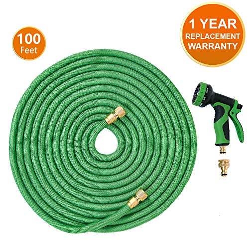 ANSIO Garden Hose Pipe Expandable Water Hose 100 Ft/30M with Brass Connectors, 9 Function Spray, Flexible Anti-Kink for Home, Garden, Patio and Car cleaning
