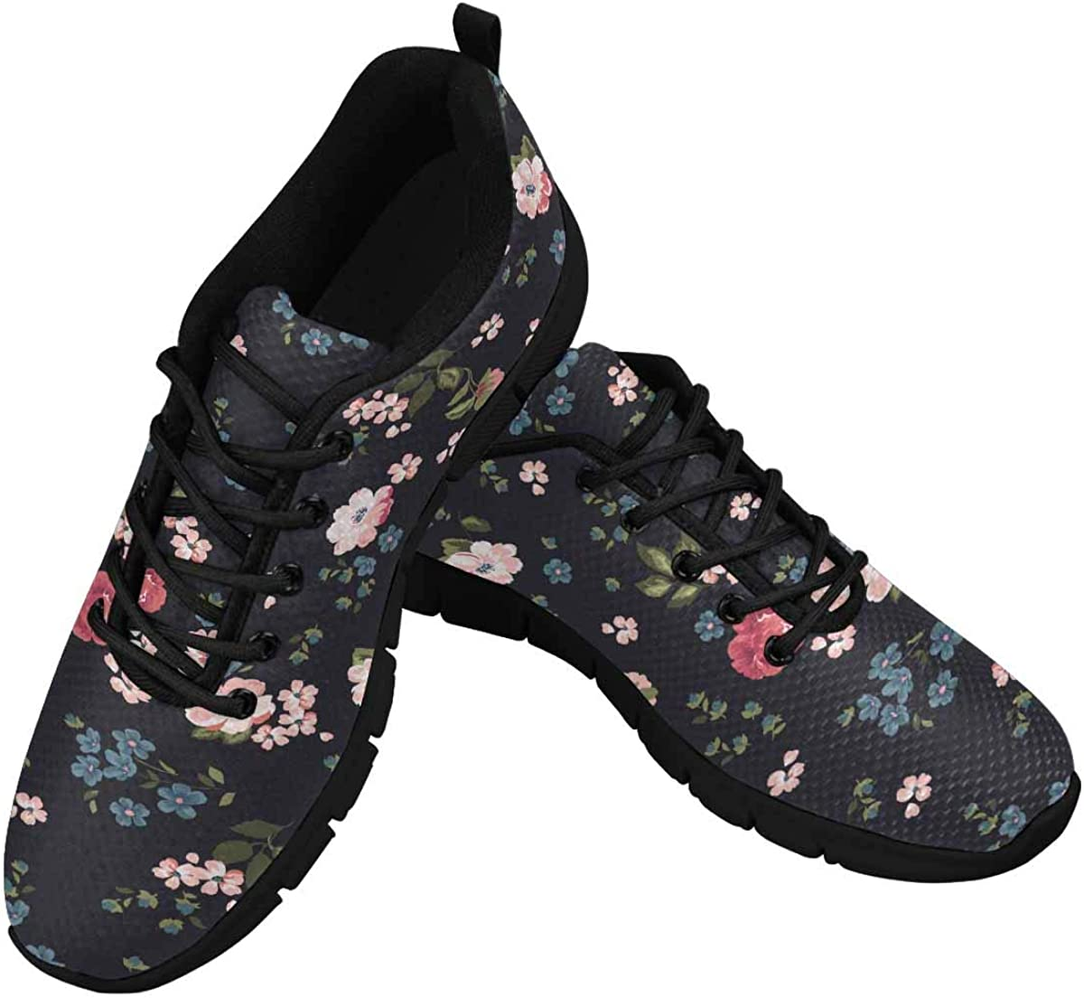 INTERESTPRINT Trendy Floral Pattern Women's Lace Up Running Comfort Sports Sneakers