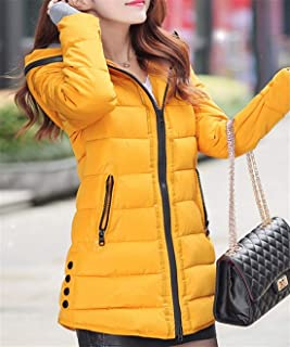 Womens Winter Hooded Down Coat Thumb Hole Quilted Padded Warm Puffer Jacket