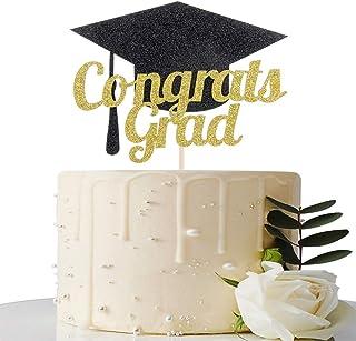 Congrats Grad Cake Topper - 2020 Graduation Party Decorations Supplies - Graduation Cake Topper - Happy Graduation Party Decorations (Gold and Black)