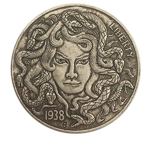 LJIE Gedenkmünze 1938 Medusa Königin Wandering Münzmetall Münzen Antike Münzsammlung Geschenk-Münze, Silber überzogene 38MM