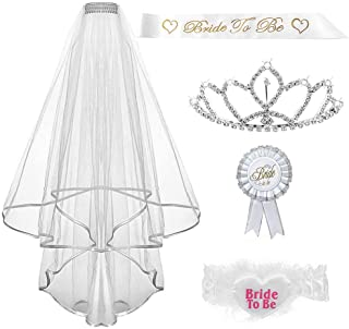 ALLYAOFA Bridal Veil Set, 5 Pieces Bride to Be Bachelorette Party Accessory Kit, Bride to Be Sash and Tiara Kit for Bride ...