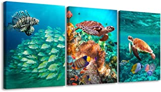 3 Piece Sea Turtle and Fish Canvas Prints Wall Art Underwater World Animal Painting Pictures for Bedroom Nursery Home Decor