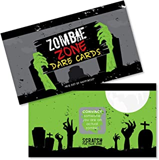 Big Dot of Happiness Zombie Zone - Halloween or Birthday Zombie Crawl Party Game Scratch Off Dare Cards - 22 Count