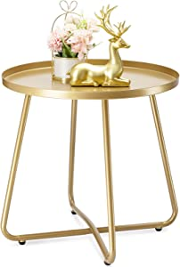 danpinera Outdoor Side Tables, Weather Resistant Steel Patio Side Table, Small Round Outdoor End Table Metal Side Table for Patio Yard Balcony Garden Bedside Gold