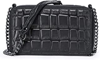 Women's Fashion Shoulder Bag,Temperament Soft Handmade Leather Cross Section Square Multi-Function Mobile Crossbody Phone Large Wallet,B,20 * 12.5 * 8CM