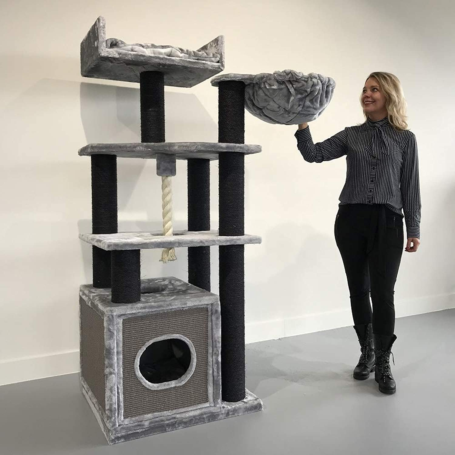 Cat tree for large cats Cat Relax Blackline Light Grey XXL extra big breed trees scratch post and adult towers furniture scratcher activity centre