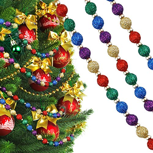 Hicarer 15 Feet Christmas Multi-Color Beaded Garland Red Green Gold Glitter Beaded Garland for Christmas Tree Ornament (Chic Colors)