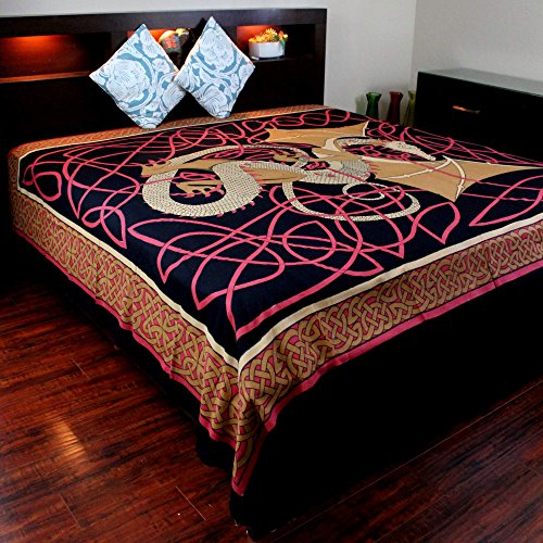 India Arts Cotton Celtic Dragon Tapestry Tablecloth Throw Bedspread Beach Sheet Dorm Essential 70 x 104 inches Red