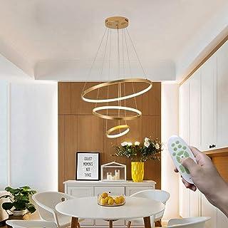 Moderno Comedor Colgante de luz Regulable con mando a distancia, LED Araña de luces 54W Redondo Lámpara de mesa de comedor Gel de sílice Altura ajustable para Sala de estar Cocina (Color : Oro)