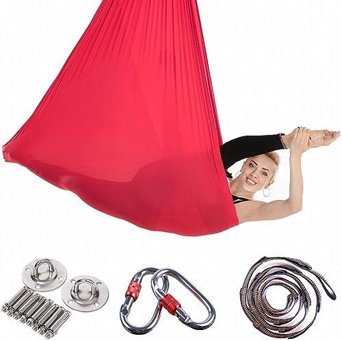 Zebuakuaede Gymnase de Yoga avec hamac de Yoga aérien à gravité inversée Micro-élastique 5  2.8 mètres élargi Hamac de Yoga Fitness