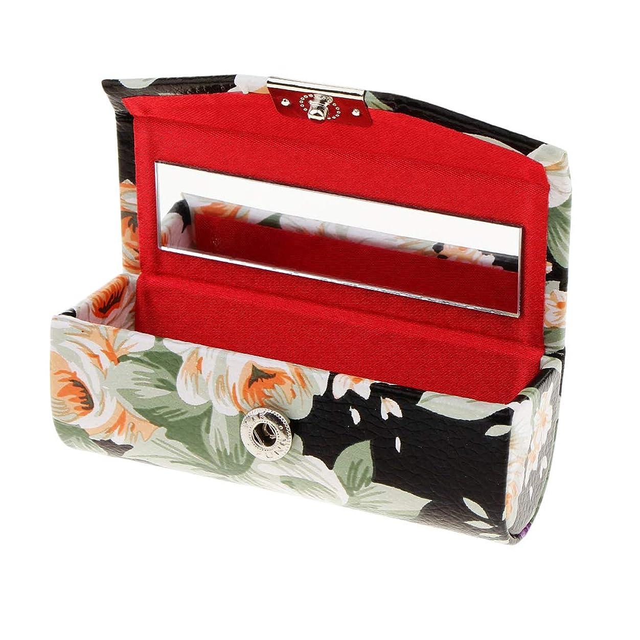 硬さ藤色接続詞KESOTO リップスティックケース ミラー付き 革製 宝石 メイクアップ 口紅 メイクアップ 収納ホルダー  5色選べ - ブラック