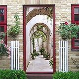 DFKJ Puerta de Flores Mural Autoadhesivo Papel Tapiz Impermeable diseño del hogar Cartel de Bricolaje decoración de la habitación Pegatinas de Arte de Pared A25 95x215cm