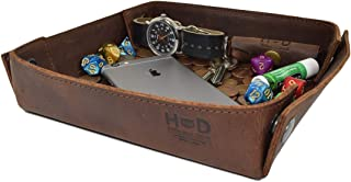 Hide & Drink Leather Catchall Change Keys Coins Jewels Box Tray Big Storage Handmade Bourbon Brown